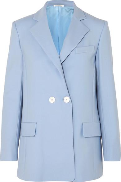 OSCAR DE LA RENTA | Oscar de la Renta - Double-breasted Wool-blend Twill Blazer - Blue | Goxip
