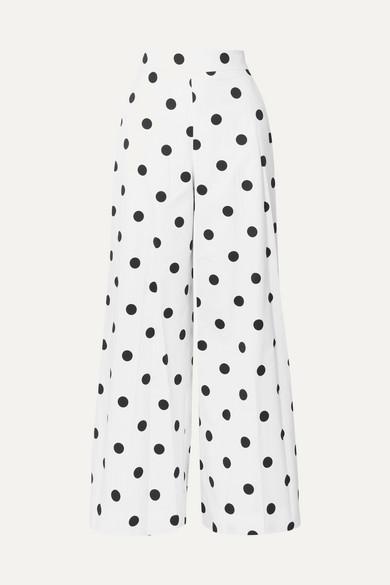 Oscar De La Renta Polka-Dot Cotton-Twill Wide-Leg Pants In White