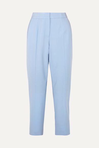 OSCAR DE LA RENTA | Oscar de la Renta - Cropped Wool-blend Twill Slim-leg Pants - Blue | Goxip