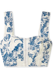 Cropped printed cotton-blend twill bustier top
