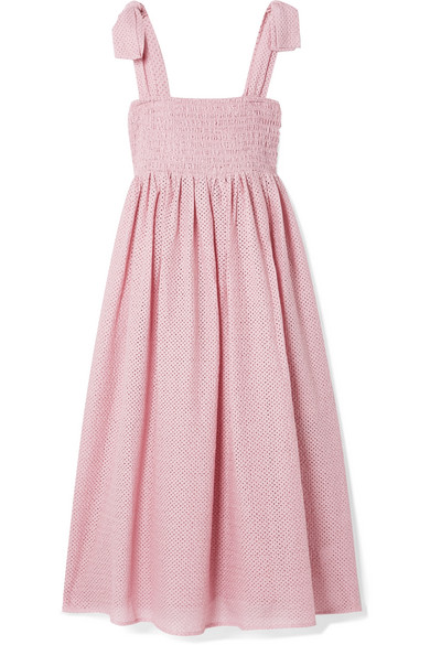 Sicily Pink Eyelet-Embroidered Cotton Dress