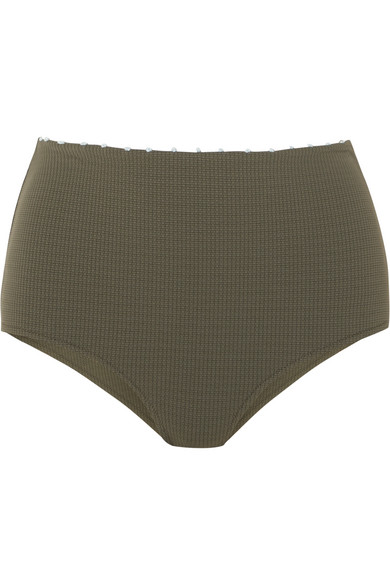 Corsica Knotted Stretch-Crepe Bikini Briefs in Dark Green