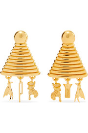 Lucy Folk Sottsass Sphinx gold-plated earrings