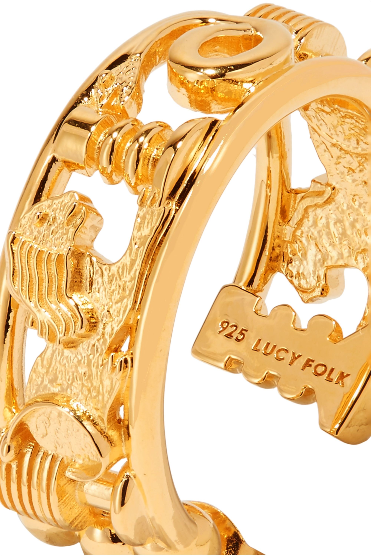 Lucy Folk Sottsass Sphinx gold-plated hoop earrings