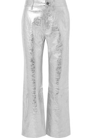 Metallic textured-leather straight-leg pants