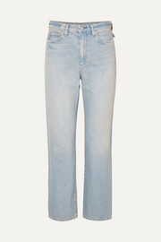 SIMON MILLER W007 distressed high-rise straight-leg jeans
