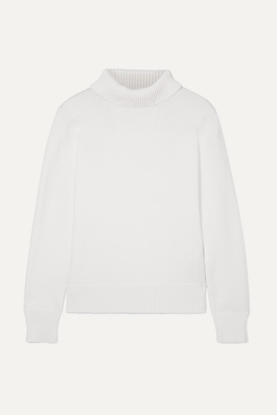 Woman Ramos Ribbed Cotton-Blend Turtleneck Sweater Ivory in White