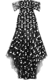 Asymmetric off-the-shoulder polka-dot tulle gown