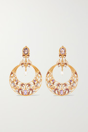 Gold-plated and enamel multi-stone earrings