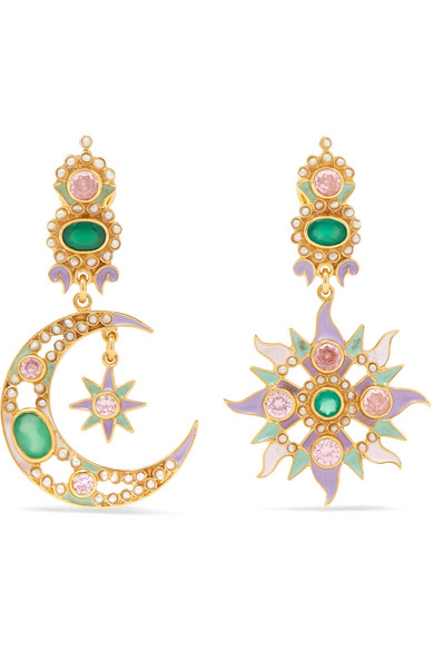 0c7f1f9a4 Percossi Papi | Gold-plated and enamel multi-stone earrings | NET-A ...