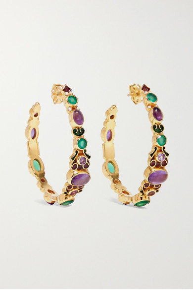 35c3b4a94 Percossi Papi | Gold-plated and enamel multi-stone hoop earrings ...