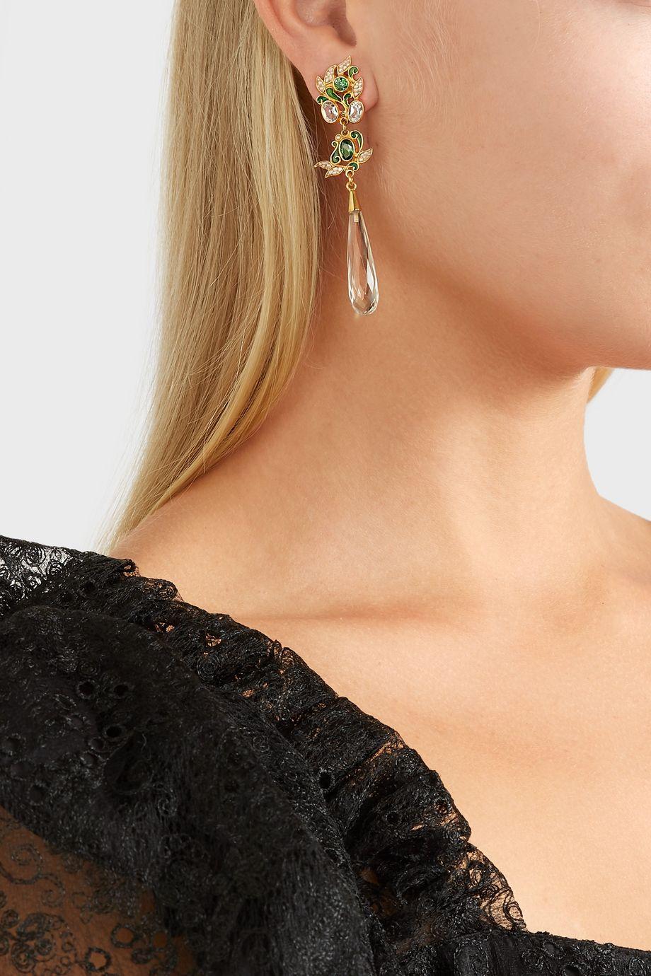 Percossi Papi Vergoldete Ohrringe mit Emaille und mehreren Steinen
