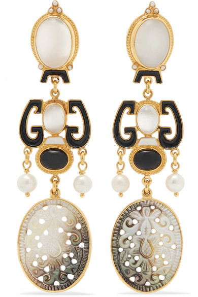 PERCOSSI PAPI Gold-Plated And Enamel Multi-Stone Earrings