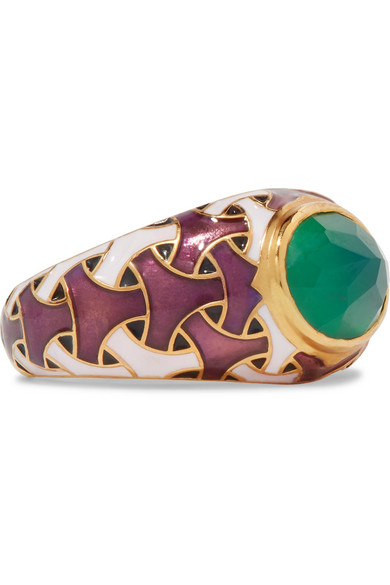 PERCOSSI PAPI Gold-Tone, Enamel And Agate Ring