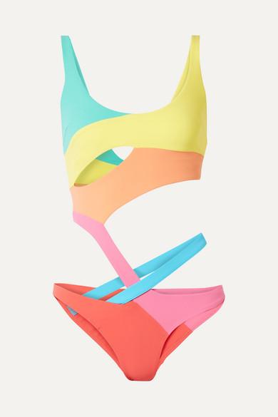 AGENT PROVOCATEUR | Agent Provocateur - Izaro Cutout Color-Block Swimsuit - Yellow | Goxip