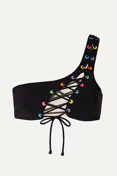Haut De Bikini Asymétrique À Finitions En Résille Et Lacets Marney - Noir