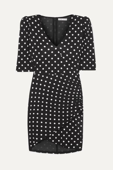 Alice+Olivia Polka Dot Ruched Short Dress - Black