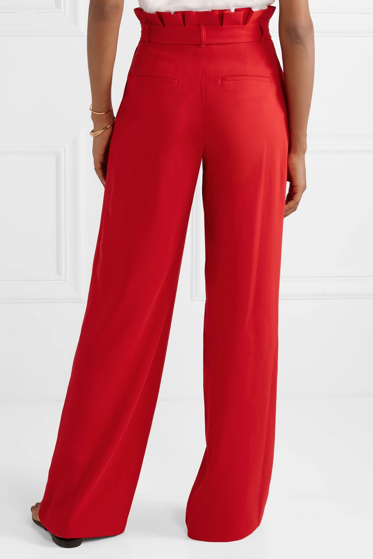 Alice + Olivia Farrel belted crepe wide-leg pants