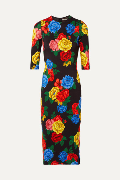Alice+Olivia Floral Print Fitted Dress - Black
