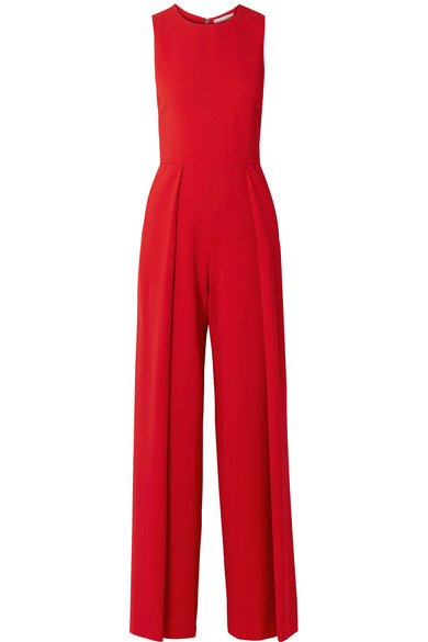 Bret Pleated Wide-Leg Jumpsuit in Red