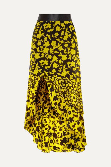 Sueann Asymmetric Tiered Floral-Print Satin-Trimmed Silk Crepe De Chine Skirt in Yellow