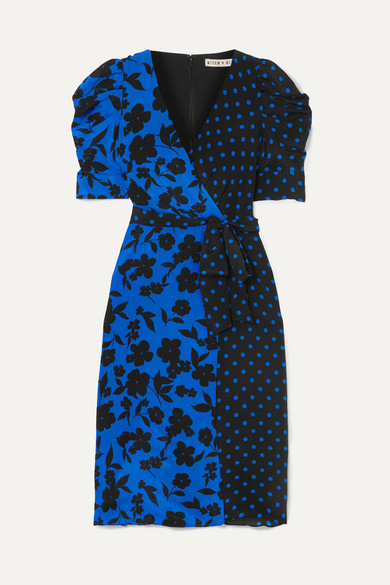 Siona Wrap-Effect Printed Silk Crepe De Chine Dress in Blue