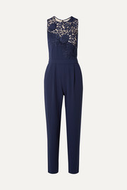 Jeri guipure lace and crepe jumpsuit