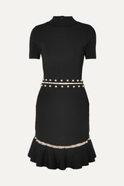 Alice + Olivia Evelyn embellished cutout stretch-knit dress