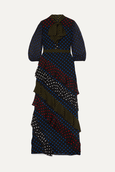 Lessie Ruffled Polka-Dot Silk Crepe De Chine Maxi Dress in Black
