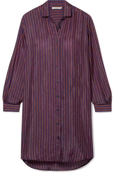 Sox Striped Silk-Satin Shirt in Grape