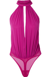 Silk crepe de chine thong bodysuit