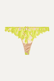 Fleur du Mal Lily neon embroidered satin and stretch-tulle thong