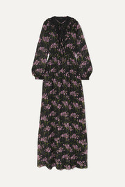 Lace-trimmed floral-print silk-georgette gown