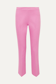 Cropped cotton-blend straight-leg pants