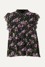 Ruffled floral-print silk-chiffon top