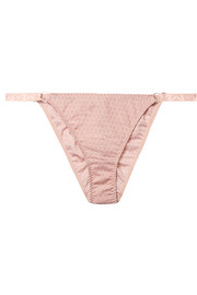 Myla Honey Lane ruched embroidered stretch-tulle briefs