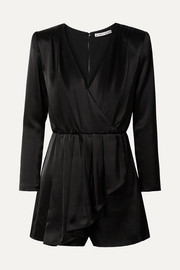 Demi wrap-effect ruffled satin playsuit