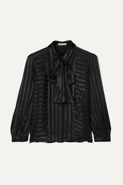 Alice + Olivia Willis pussy-bow striped jacquard blouse