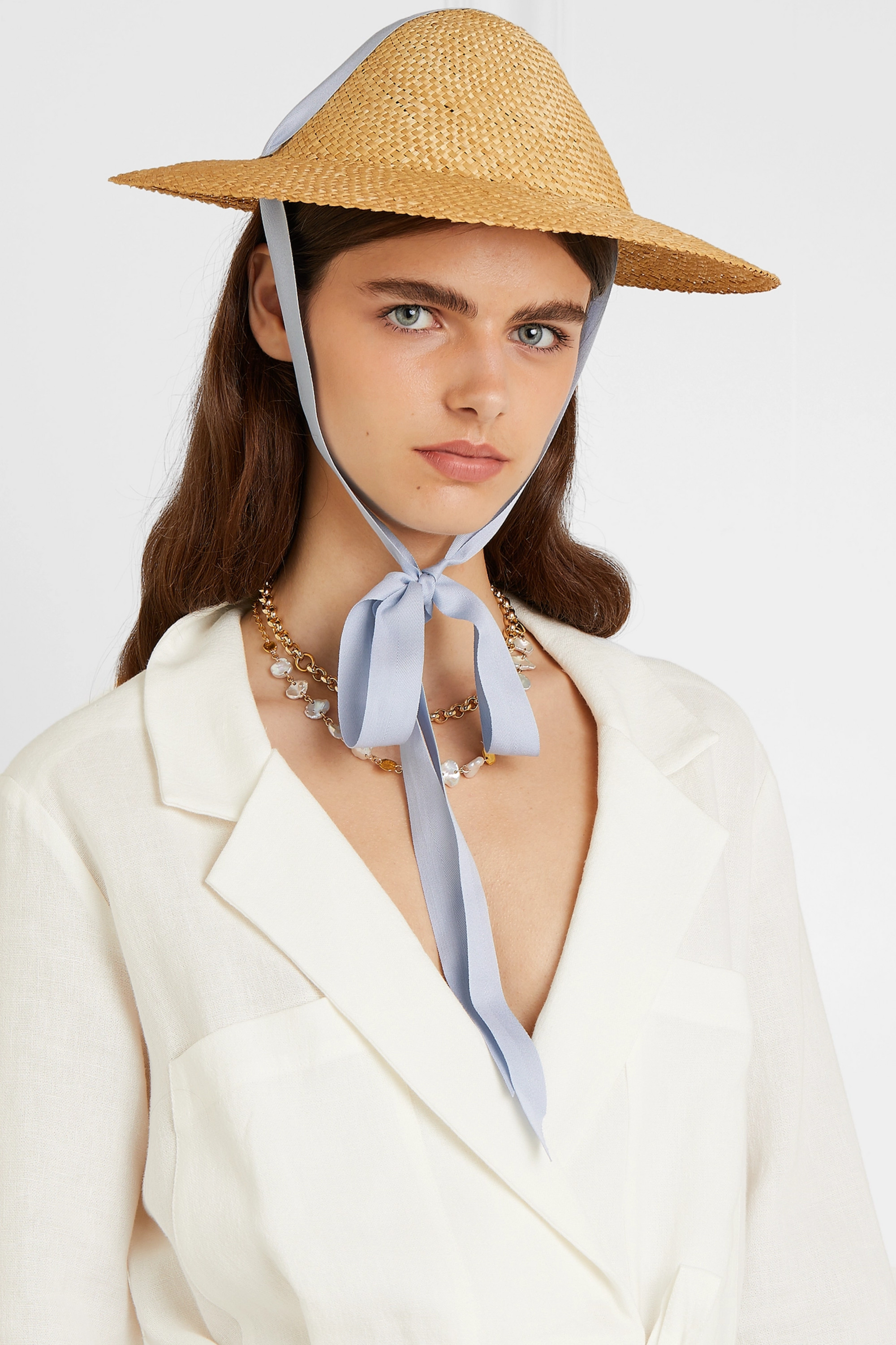 CLYDE Adriatic cotton-trimmed straw hat