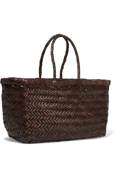 Bamboo Triple Jump small woven leather tote