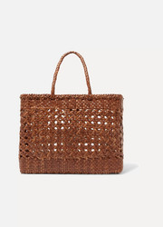 Cannage big woven leather tote