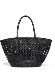 Cannage woven leather tote