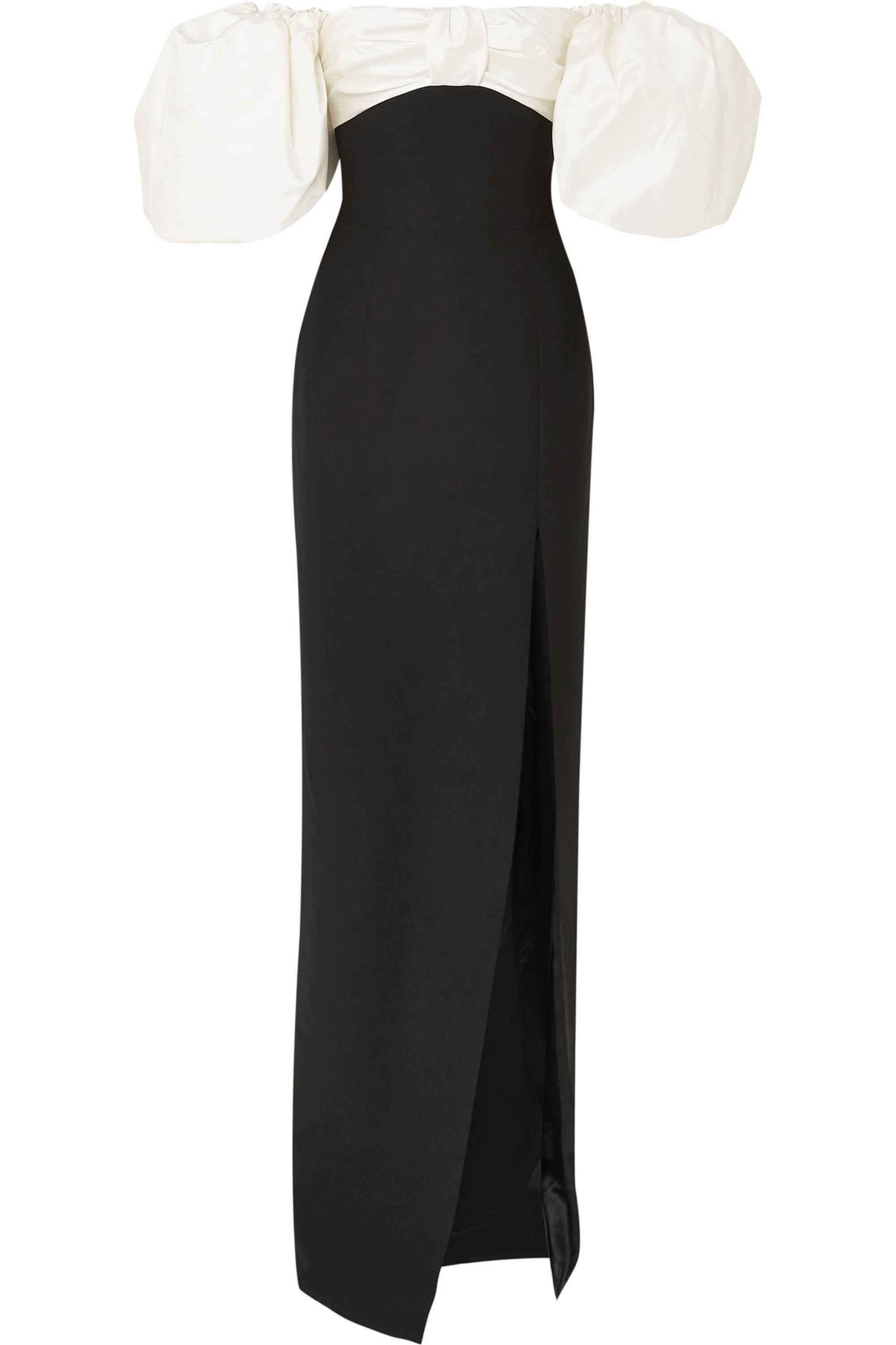 RASARIO Off-the-shoulder crepe and shantung gown