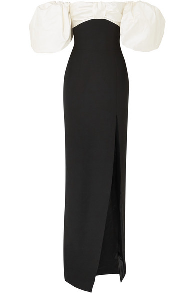 RASARIO Off-The-Shoulder Crepe And Shantung Gown in Black