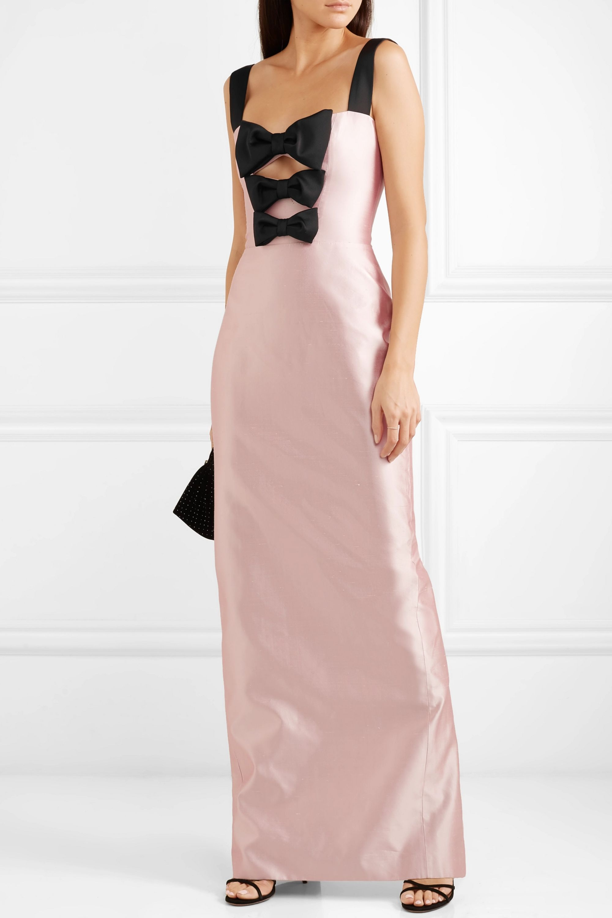 RASARIO Bow-embellished silk-shantung gown