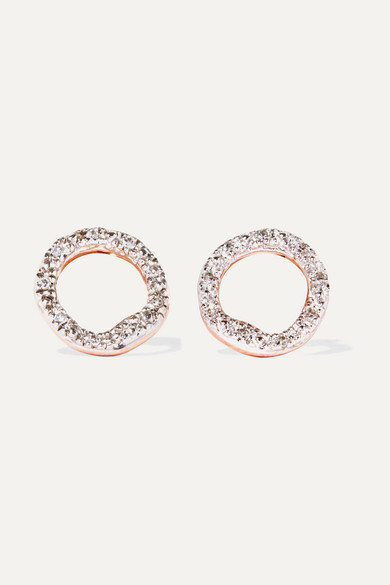 Monica Vinader Riva Circle Rose Gold Vermeil Diamond Earrings Net A Porter Com