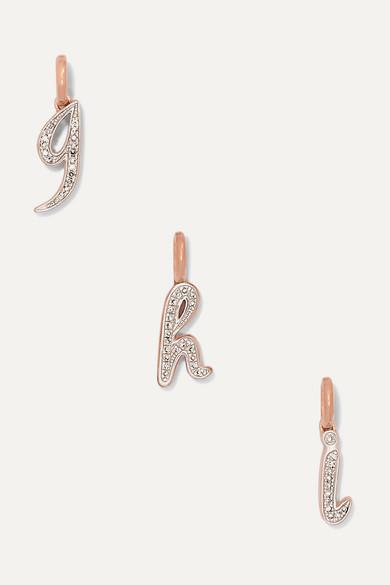 A-Z Alphabet Letter Rose Gold Vermeil Diamond Pendants