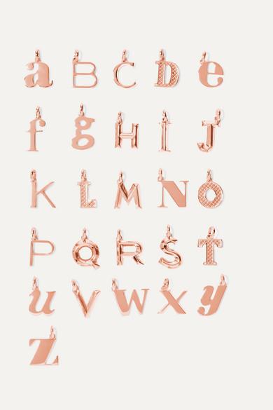 A-Z Alphabet Letter Rose Gold Vermeil Pendants