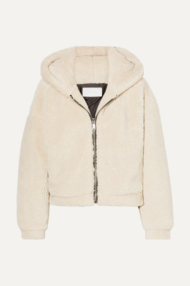 RE/DONE | RE/DONE - Cropped Hooded Faux Fur Jacket - Beige | Goxip