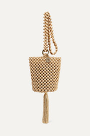 Lucy tasseled beaded bucket bag